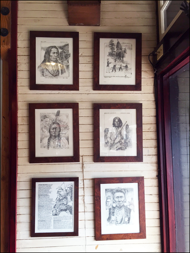 Native American drawings at Bipartisan Cafe in Portland